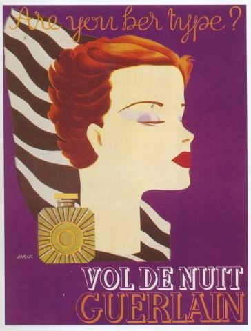 """Are you her type?"" Vintage poster Vol de Nuit Guerlain 1934,  Elise Darcy"