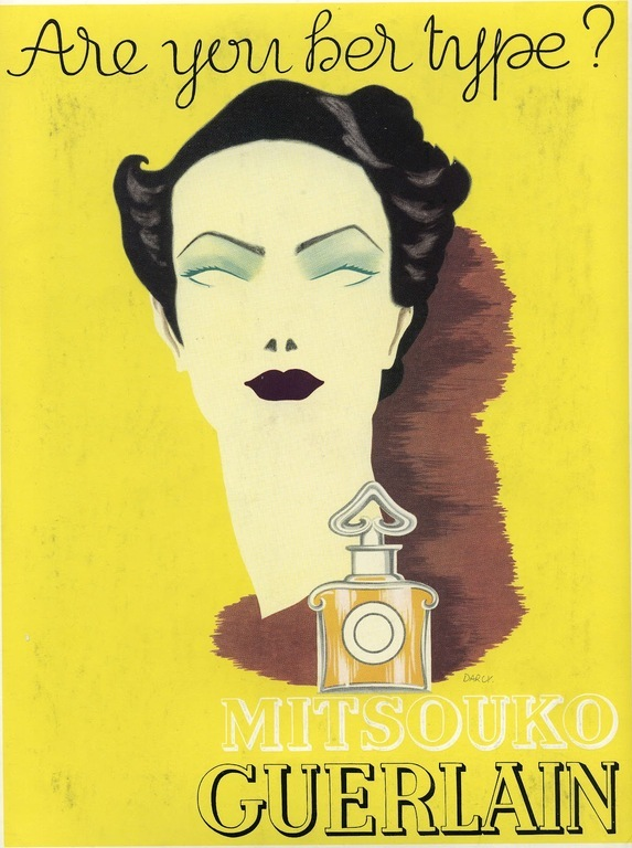 """Are you her type?"" 1935 Elise Darcy vintage poster Mitsouko Guerlain. Духи Герлен Мицуко."